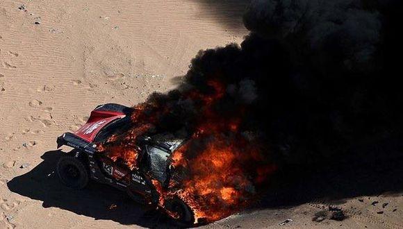 El buggy DXX se incendió en la Etapa 1 del Dakar 2020. (Foto: Alerta Racing)