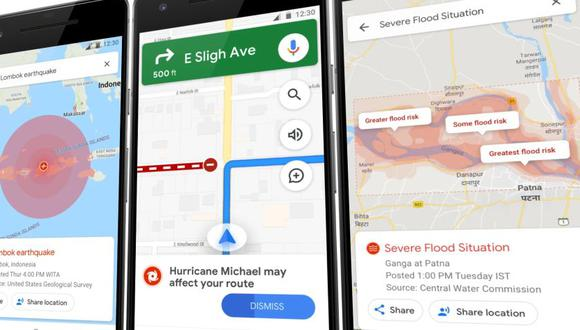 Advertencias de Google Maps en caso de desastres (VentureBeat)