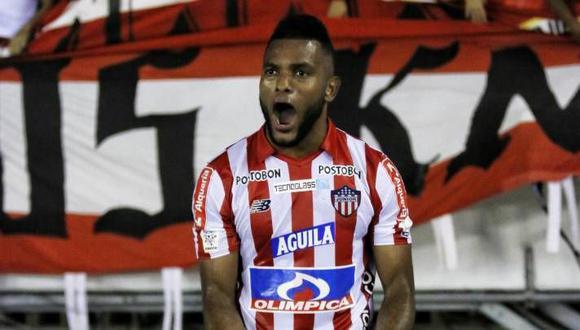 Miguel Borja marcó el gol de la victoria para el cuadro 'Tiburón'. (Foto: Junior)