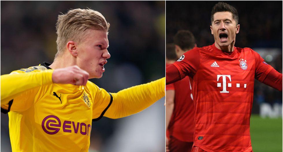 Erling Haaland le ganó a Lewandowski el primer asalto en el regreso de la Bundesliga. (Foto: Collage)