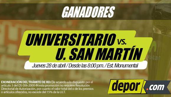 Universitario de Deportes vs. San Martín: los ganadores de las entradas