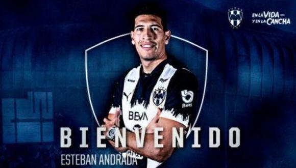 Rayados de Monterrey será el cuarto equipo que defenderá Esteban Andrada en su carrera futbolística. (Foto: Twitter)