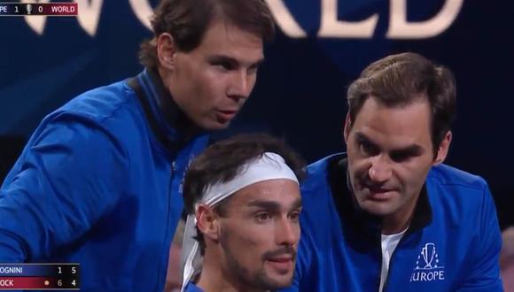 Fabio Fognini recibió consejos de Rafael  Nadal y Roger Federer, los tres compañeros del equipo Europa. (Captura Laver Cup)