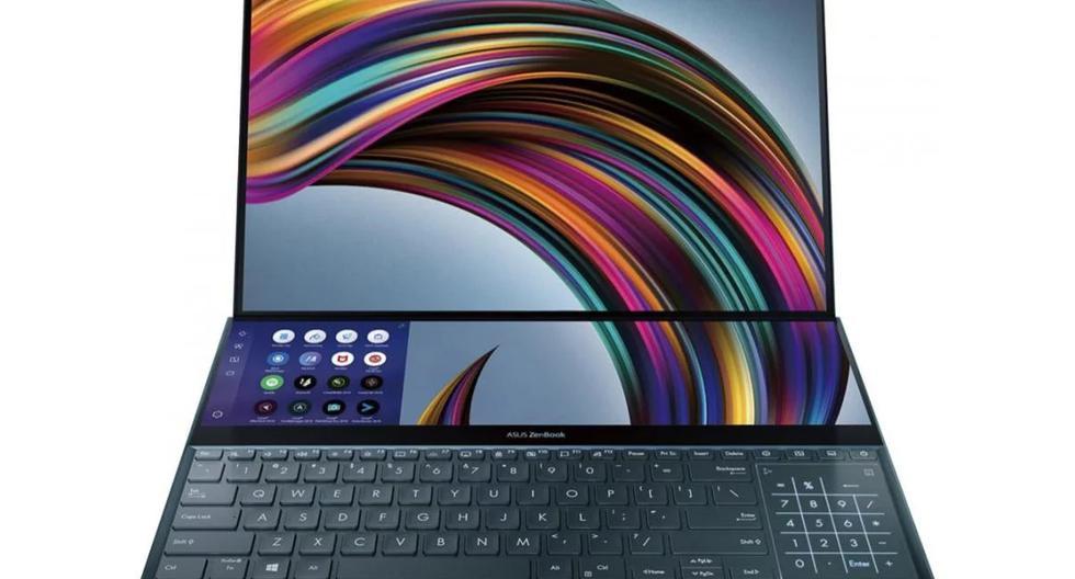 Zenbook Pro Duo cuenta con una pantalla de 15.6 pulgadas y una ScreenPad Plus, una pantalla completa táctil secundaria de 14 pulgadas. (Foto: Asus)