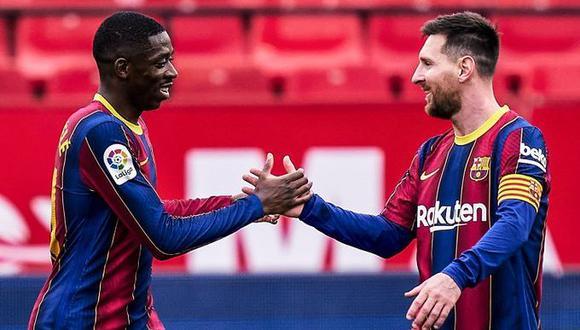 Lionel Messi y Ousmane Dembélé marcaron los goles del triunfo del Barcelona. (Twitter Barcelona)