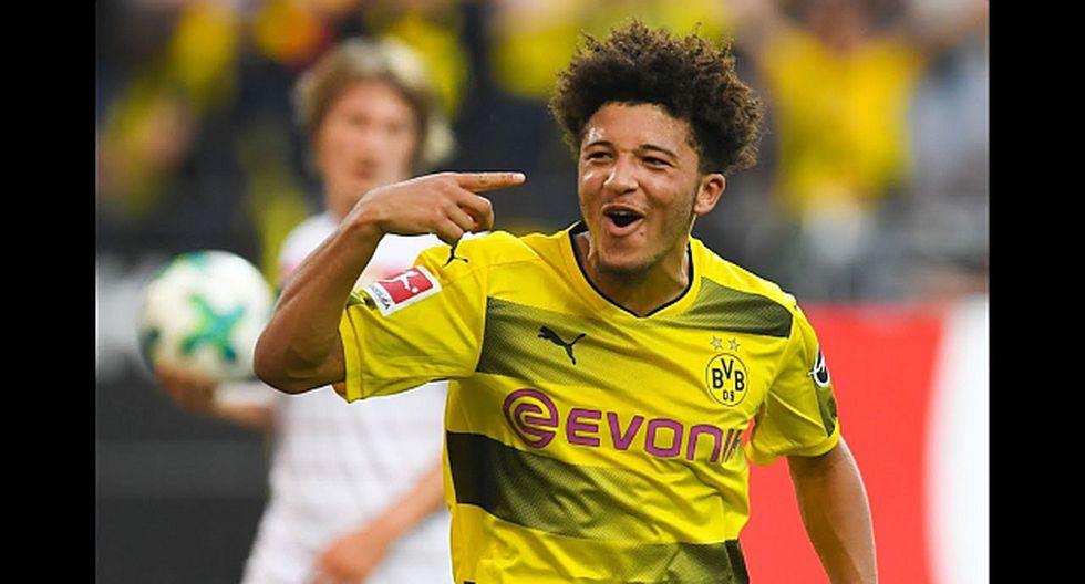 Sancho marcó 12 goles en esta edición en la Bundesliga. En el video, su debut con Inglaterra: en octubre se convirtió en el primer inglés nacido en el 2000 en jugar con la Selección. (Foto: AFP)