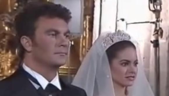 Lucero y Mijares el 18 de enero de 1997, el día de su multitudinario matrimonio religioso. (Fuente: Captura de Televisa)