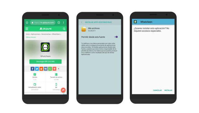 Desde la página de Andro4all, para que pueda instalar WhatzSeen en Android.  (Capturar)