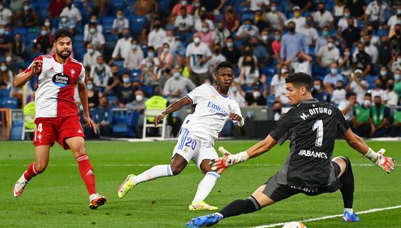 Vinicius Junior lleva cuatro goles en cuatro jornadas de LaLiga 2021-22. (Foto: AFP)