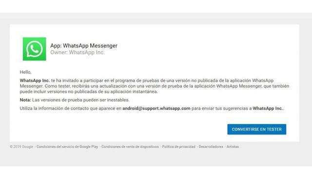Para poder obtener los últimos detalles de WhatsApp es necesario ser beta tester. (Foto: WhatsApp)