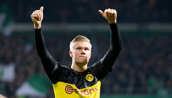Erling Haaland tiene ocho goles en cinco partidos con Borussia Dortmund. (AFP)