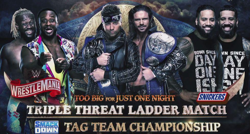 The Miz y John Morrison (c) vs. The New Day vs. The Usos por los títulos en parejas de SmackDown. (Foto: WWE)