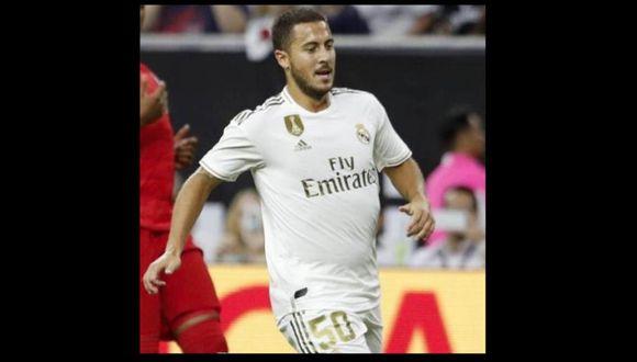 Eden Hazard debutó con Real Madrid en amistoso ante Bayern Munich. (Twitter)