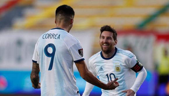 Con goles de Lautaro Martínez y Joaquín Correa, Argentina venció 2-1 a Bolivia en La Paz por Eliminatorias Qatar 2022. (Foto: AFP)