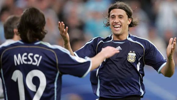 Hernán Crespo y Lionel Messi formaron parte de la Selección Argentina en el Mundial Alemania 2006.