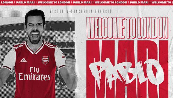 Pablo Marí jugará al lado del brasilero David Luiz en Arsenal. (Foto: Twitter @Arsenal)