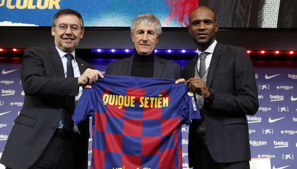 La presentación oficial de Quique Setién como técnico del Barcelona. (Foto: @FCBarcelona_es)