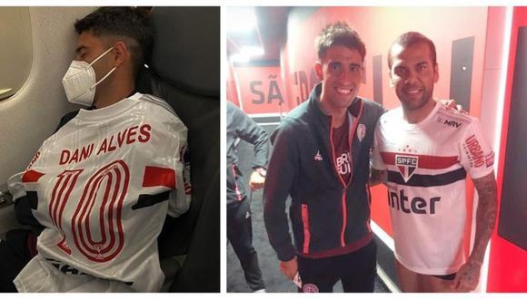 Leonel Di Placido lució la camiseta de Dani Alves en el vuelo de regreso Argentina.