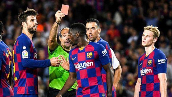 Ousmane Dembélé fue expulsado ante Sevilla a los 88 minutos de juego. (Getty)