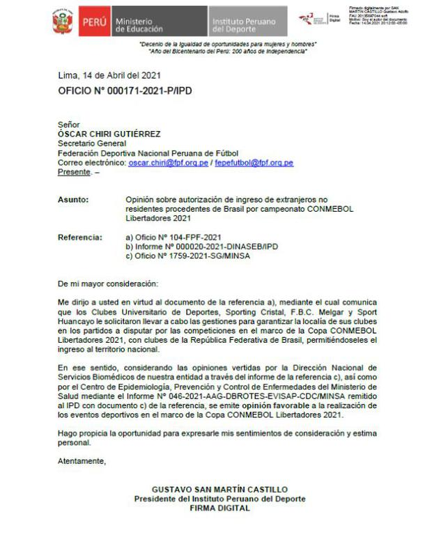 Gobierno peruano dio el visto bueno para que equipos peruanos jueguen ante brasileños en Lima.