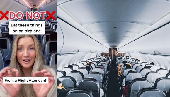 Un video viral protagonizado por una aeromoza y sus consejos sobre lo que uno nunca debe pedir para consumir a bordo de los aviones abrió el debate en las redes sociales. | Crédito: @katkamalani / TikTok / Pexels / Referencial.