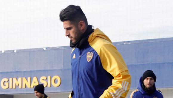 Carlos Zambrano recibió los puntos en el pómulo tras un choque con Agustín Sández. (Foto: Boca Juniors)
