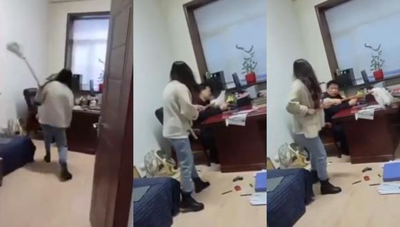Un video viral tiene como protagonista a una mujer que encaró a su jefe por hostigarla sexualmente en su centro de trabajo en China. | Crédito: Weibo / YouTube