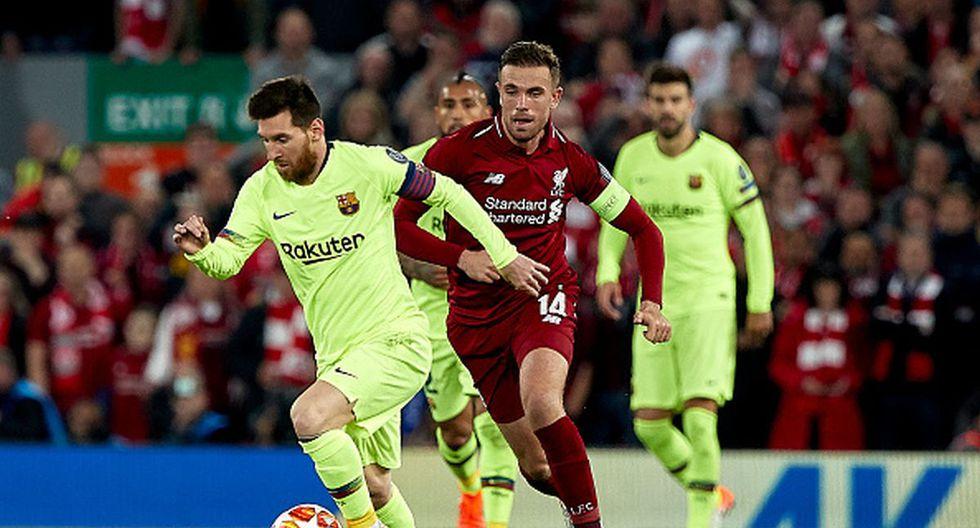 Lionel Messi y Jordan Henderson en Anfield por la Champions League. (Foto: Getty Images)