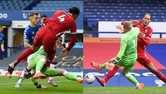 Virgil van Dijk recibió una dura falta por parte de Jordan Pickford en el duelo entre Liverpool y Everton.