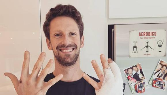 Romain Grosjean se quitó el vendaje para mostrar cómo quedó su mano izquierda. (Foto: Instagram)