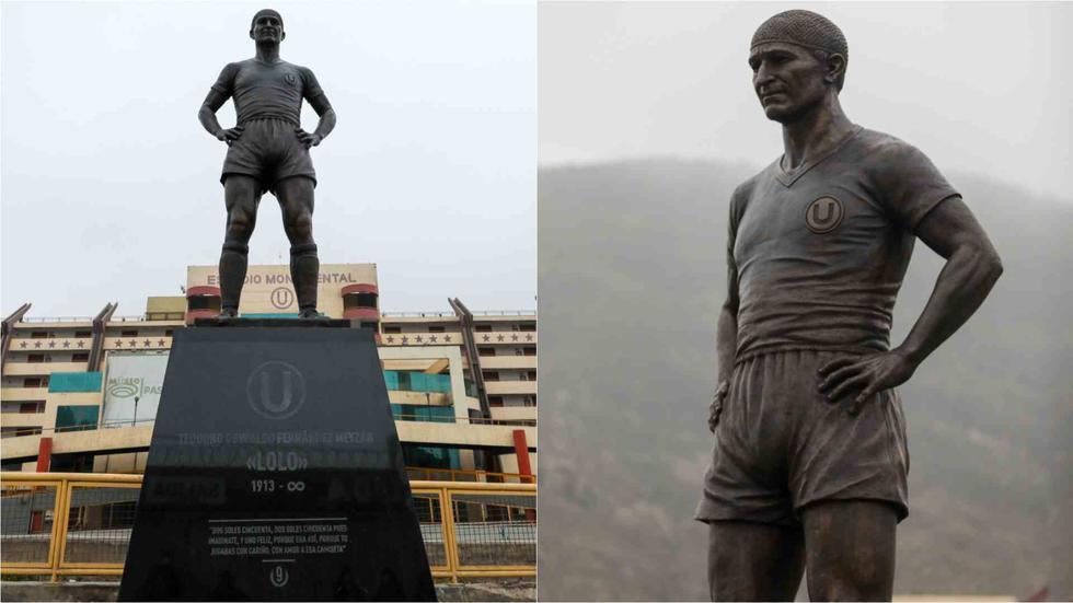 Universitario de Deportes presentó la nueva estatua en homenaje al ídolo eterno, Lolo Fernández (Foto: Universitario de Deportes)
