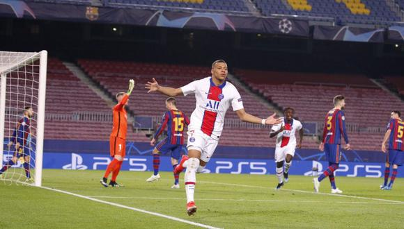 Kylian Mbappé fue la gran figura del triunfo 4-1 del PSG ante Barcelona por Champions League. (Foto: AFP)