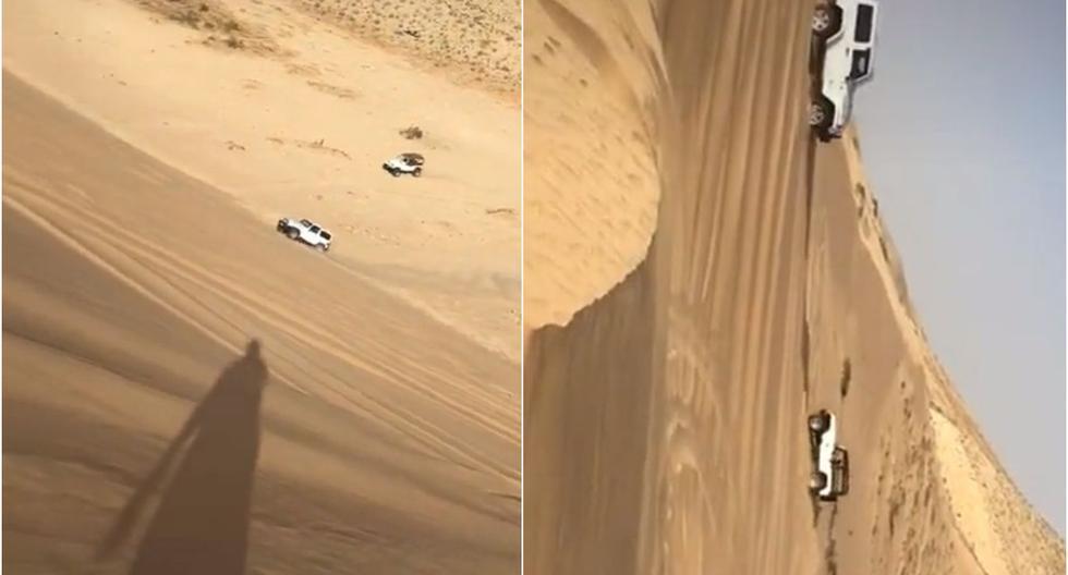 Es tendencia: jeeps ascienden por una cuesta empinada de arena y son virales. (Foto: Captura/TikTok)