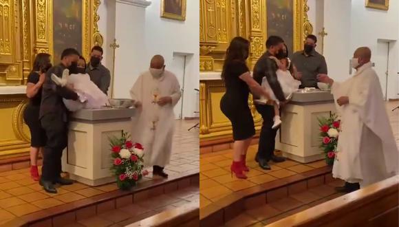 Un video viral muestra la curiosa reacción de una niña al ser bautizada.   Crédito: @El_Triqui_ / Twitter