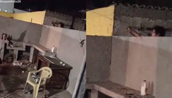 La vecina del hombre no dudó ni un segundo en arrojar agua a todos los que estaban presentes en la fiesta.   Foto: @noemifelix26/TikTok