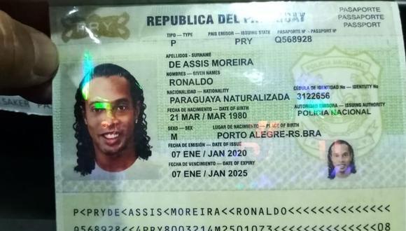 Este fue el pasaporte que presentó Ronaldinho para ingresar a Paraguay. (Foto: SportsCenter)