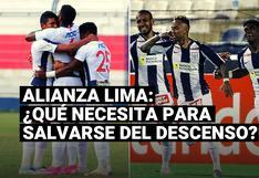 ¿Qué necesita Alianza Lima para salvarse del descenso de la Liga 1?