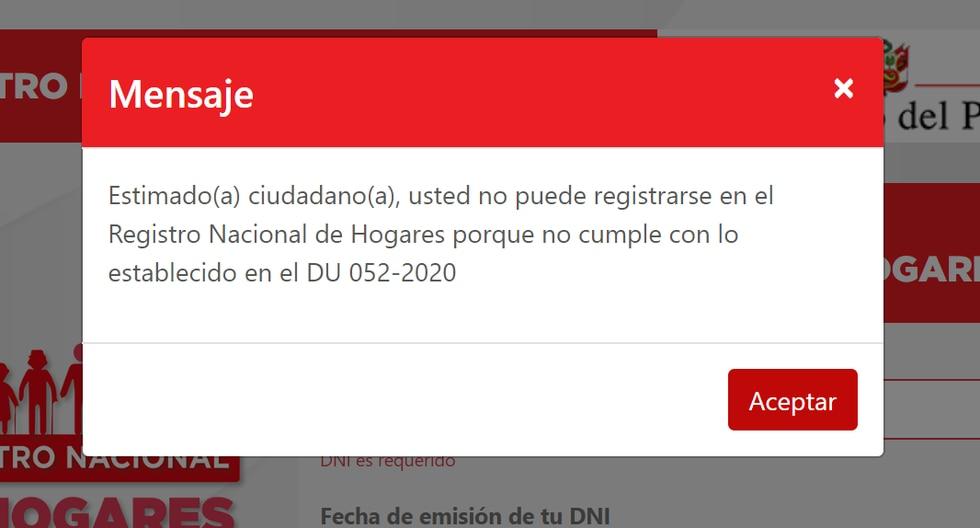 Conoce qué hacer si te aparece este mensaje, cuando intentas registrarte en el portal de la RENIEC. (Captura)