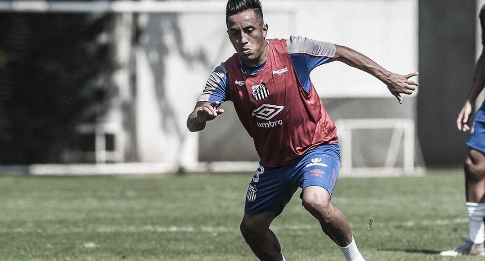 Christian Cueva ha vuelto a entrenar en Santos FC, pero no con el plantel principal. (Foto: Ivan Storti / Santos FC)