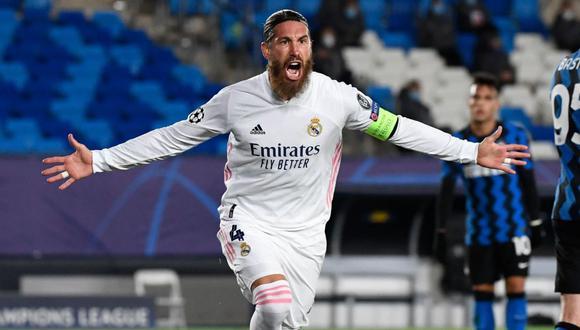 Sergio Ramos alcanzó ante el Inter de Milán los 100 goles con el Real Madrid. (AFP)