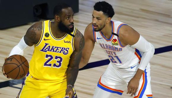 Los Angeles Lakers cayeron por 105-86 frente a Oklahoma City Thunder en la 'burbuja' de Disney. (AP)