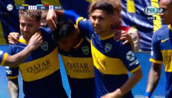 El gol de Frank Fabra y el 3-0 de Boca ante Arsenal por Superliga. (Fox Sports)