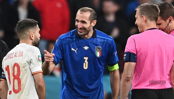 Giorgio Chiellini y Jordi Alba en el sorteo previo a la definición de panales. (Foto: EFE)