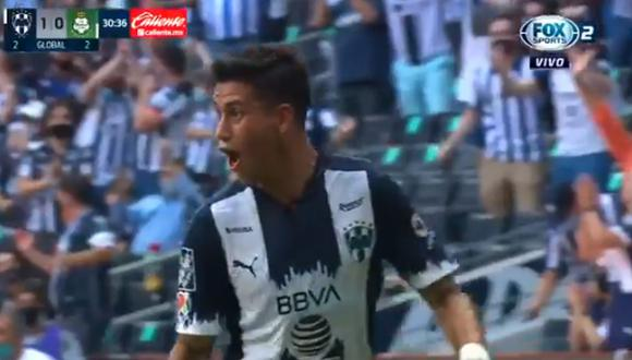 Gol de Maximiliano Meza para el 1-0 del Monterrey vs. Santos Laguna por la Liguilla MX (Foto: FOX Sports 2)