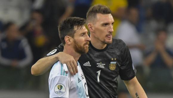 Franco Armani y Lionel Messi, titulares para el Argentina vs. Ecuador de este jueves. (Foto: AFP)