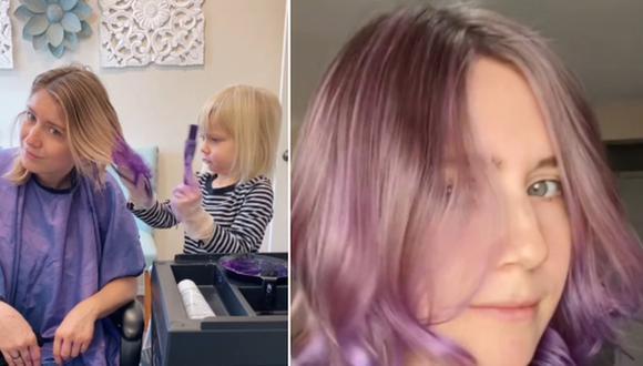 Dejó que su hija de 3 años le tiña el cabello de color púrpura y el resultado impactó en Internet. (Foto: @aymieandgracie / TikTok)