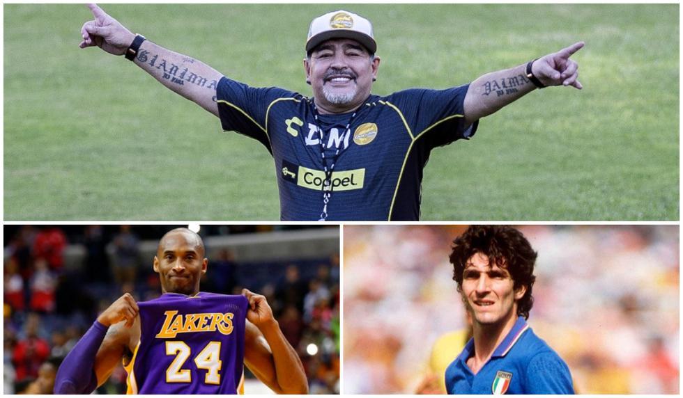 Diego Maradona, Kobe Bryant y Paolo Rossi fueron algunas leyendas del deporte que nos dijeron adiós este 2020. (Fotos: AFP / EFE)