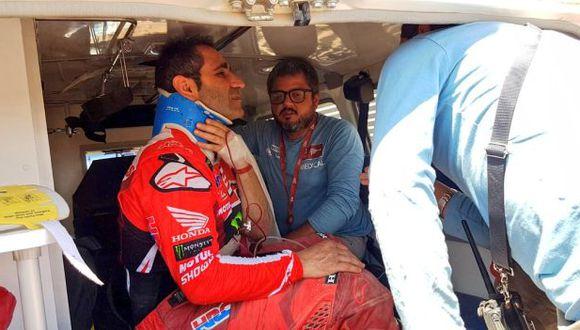Paulo Gonçalves le puso punto final a su participación en el Dakar tras el accidente. (Foto: Dakar)