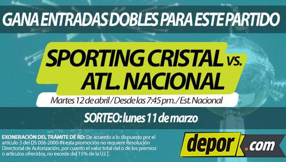 Gana entradas dobles para el choque entre Sporting Cristal y Atlético Nacional por la Copa Libertadores. (Depor)