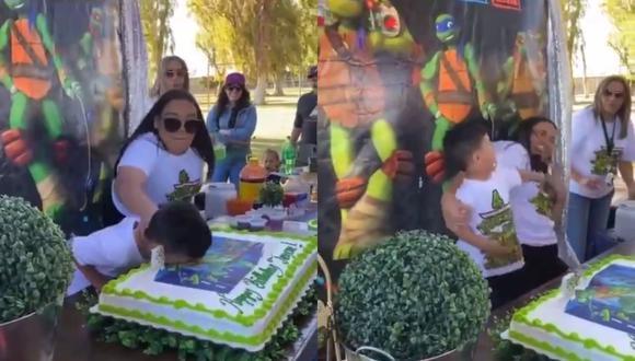 """Un video viral muestra el """"ataque de ira"""" de un niño por la broma pesada que le jugó su tía el día de su cumpleaños.   Crédito: @corredile / Twitter."""